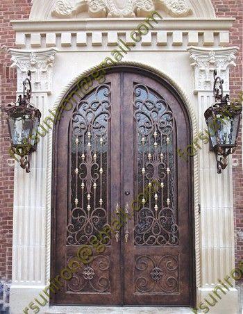 Puerta De Dos Hojas En Madera Y Forja Puertas Y Ventanas