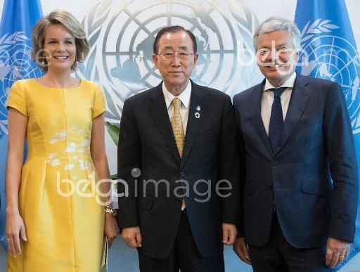 Queen Mathilde of Belgium, UN Secretary-General Ban Ki-moon and Vice-Prime Minister and Foreign Minister Didier Reynders pictured prior a meeting the second day of a visit of Belgian Queen and Foreign Minister to New York, on Tuesday 12 July 2016, in the United Staes. BELGA PHOTO BENOIT DOPPAGNE