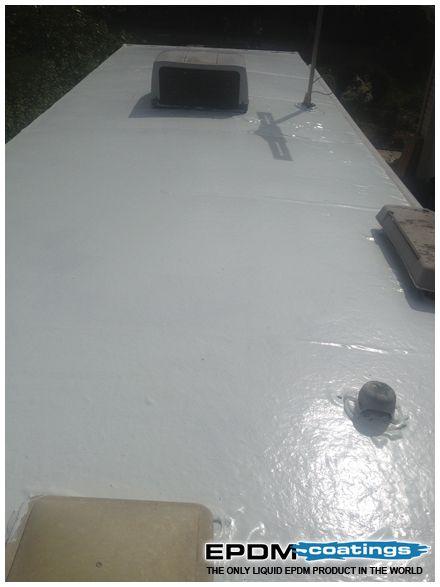 Liquid Roof Solution For Rv Roof Leaks Repair Epdm Coatings Roof Leak Repair Camper Trailers Camping Trailer