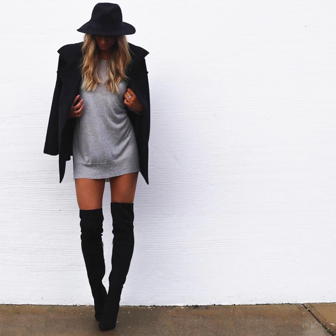 How to rock OTK boots | Style | Pinterest | High boots, Grey and ...