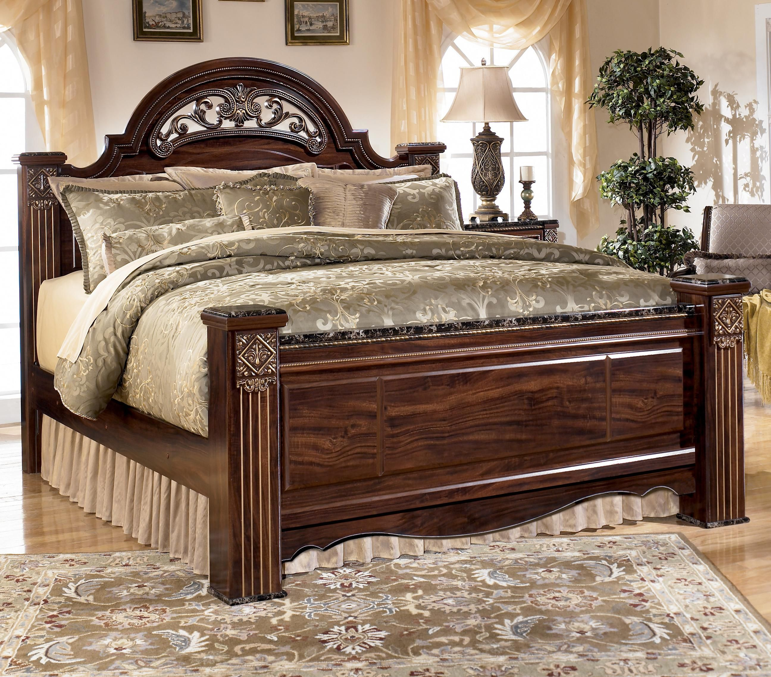 signature design by ashley gabriela traditional queen poster bed