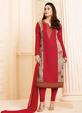 Kareena Kapoor Red N Beige Georgette Churidar Suit ...