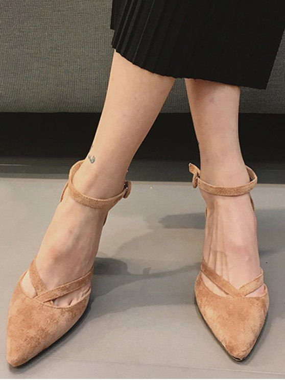 5e8cea9a6 Pointed Toe Block Heel Cross Strap Pumps - APRICOT 37