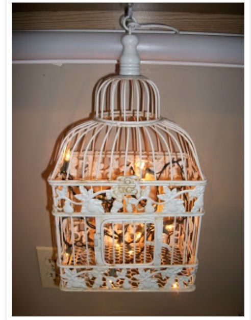 Homemade birdcage light fixture