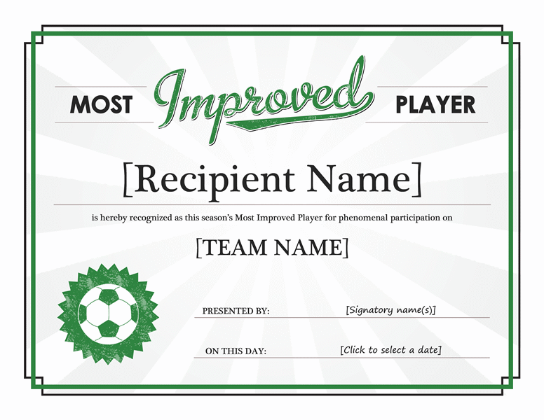 Most Improved Player Certificate Templates Office Awards