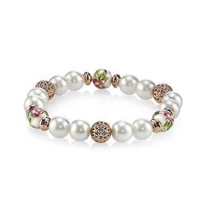 Bracelets 113465 1928 Jewelry Rose GoldTone Faux Pearl Flower