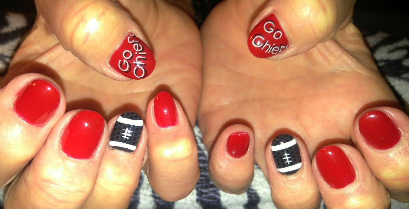 Kansas City Chiefs Nail Design! Acrylic nails with stamped and hand ...