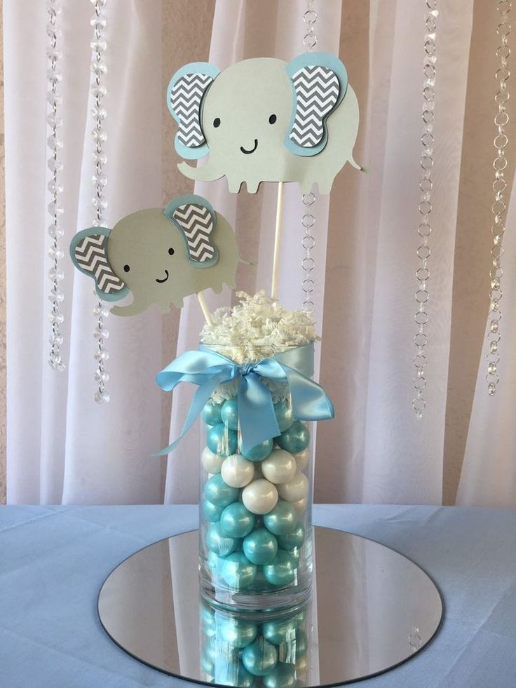 Light blue elephant centerpieces stick elephant baby for Decoration elephant