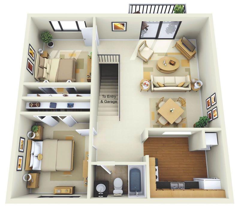 Plano 3D Apartamento 2 Habitaciones