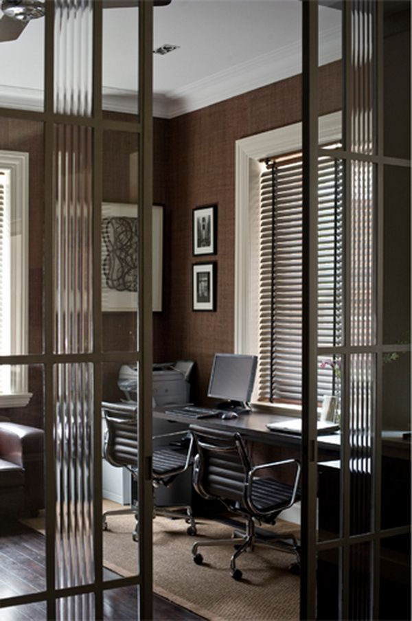 Modern Art Deco Home Office Love The Reed Gl In Doors And Surprising Use Of Gr Cloth Wallpaper