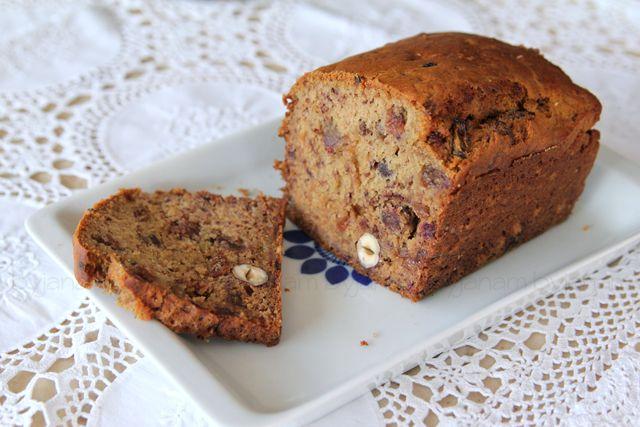 Rezept} Veganer Bananen-Dattel-Nuss-Kuchen (zuckerfrei
