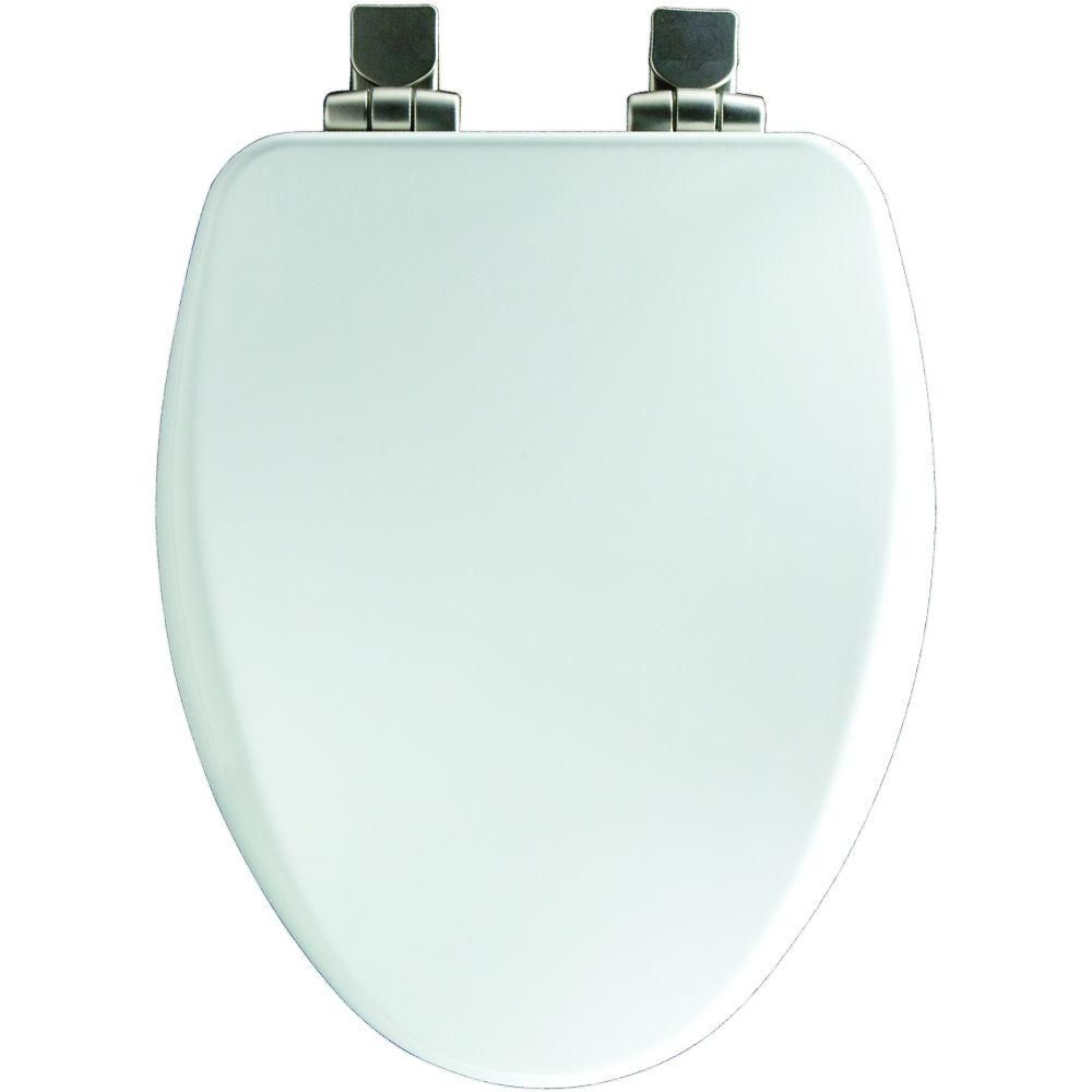 Bemis Slow Close Elongated Closed Front Toilet Seat In White 19170nisl 000 The Home Depot Elongated Toilet Seat Toilet Seat Wood Toilet Seat