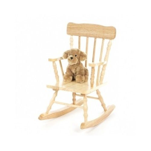 Kids Wood Rocking Chair Natural Small Toddler Nursery Playroom Solid Sturdy  #GiftMark