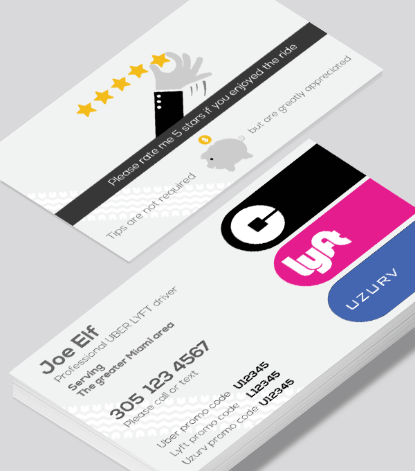 Uber Lyft Uzurv Business Card For The Driver With Diversity Lyft Business Cards Business Card Modern Modern Business Cards Design