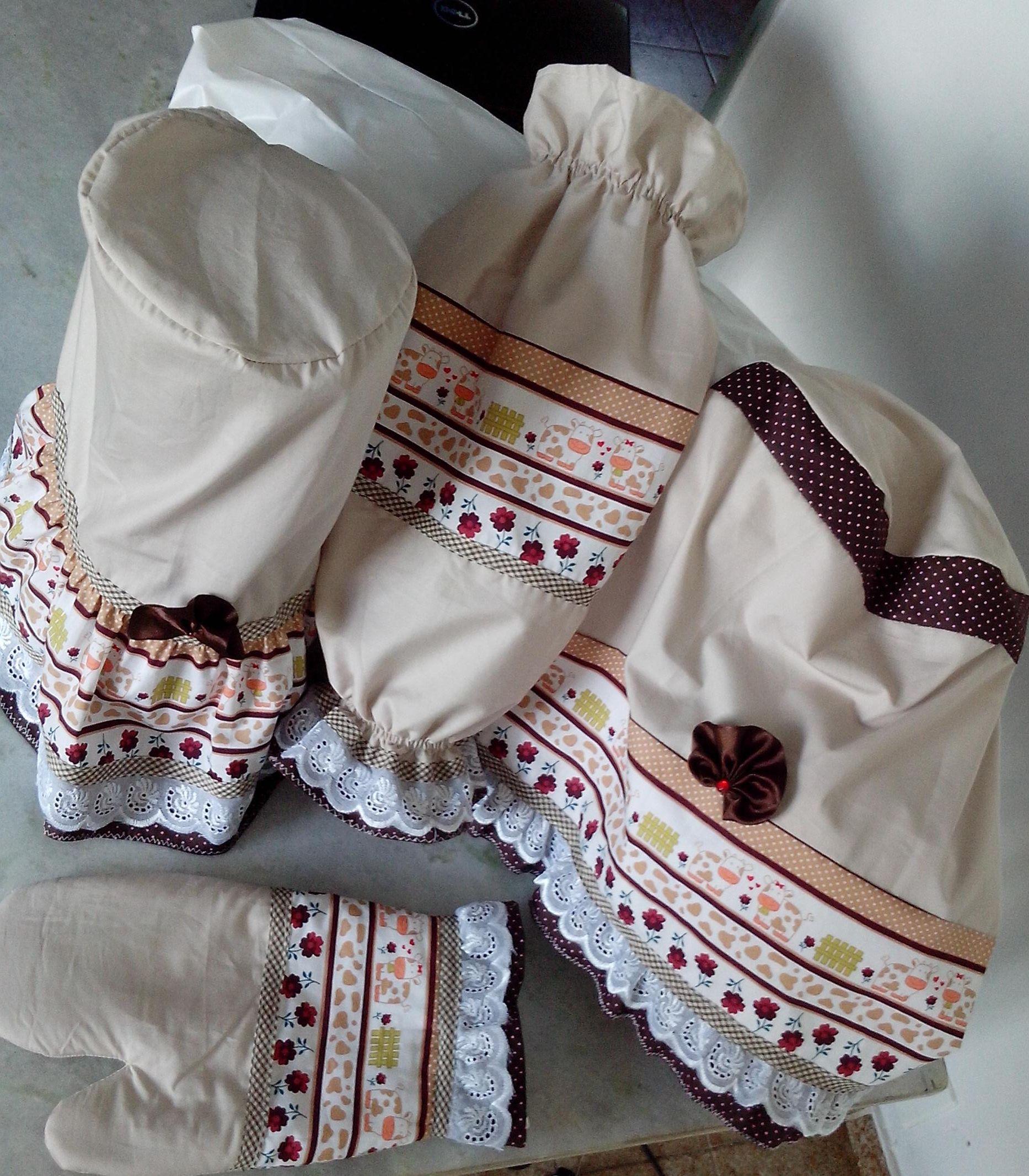Kit Cozinha Tecido 100 Algod O Com 04 Pe As Puxa Saco Luva