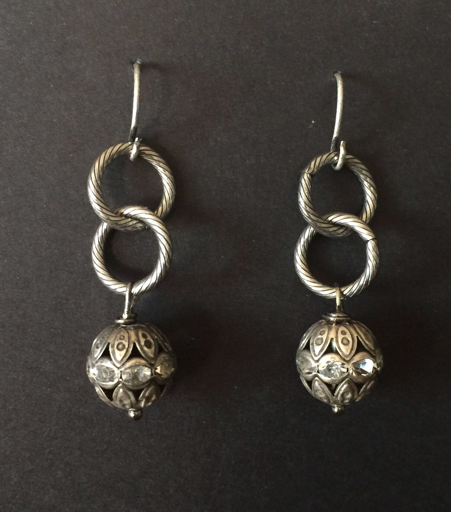 gray pin earrings gunmetal circle crystal drop