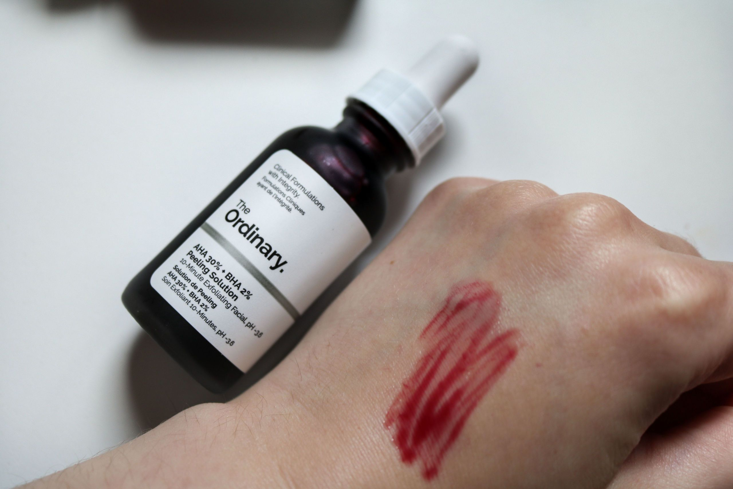 The Ordinary Skincare review Swatch of the AHA BHA mask