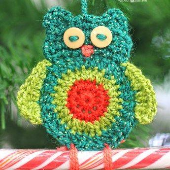Crochet Owl Candy Cane Ornaments