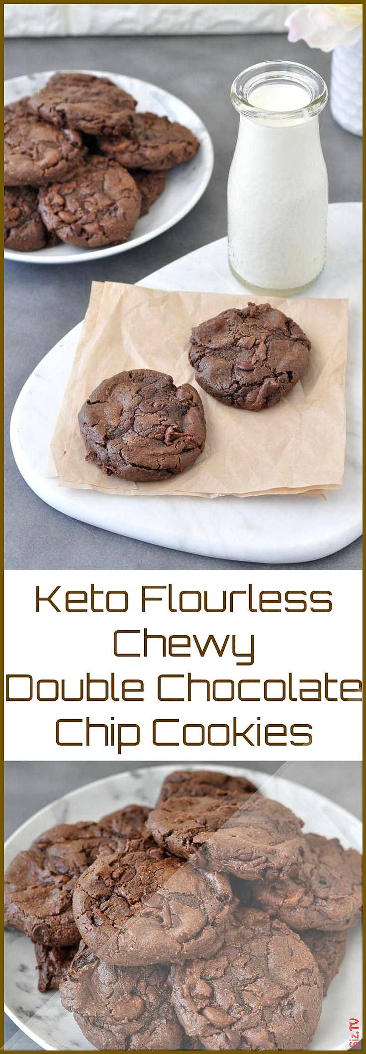 Flourless Keto Chewy Double Chocolate Chip Cookies  Keto Brownies  Ideas of Keto Brownies ketobrowni...