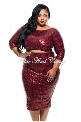 New Plus Size 2-Piece Sequined Top and Skirt Set in Burgundy 1x 2x ...