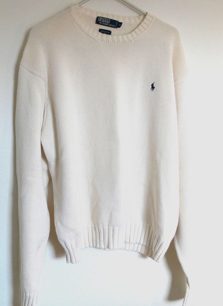 Ralph Lauren Cream Cotton Wool Cardigan Sweater Blue Pony NWT