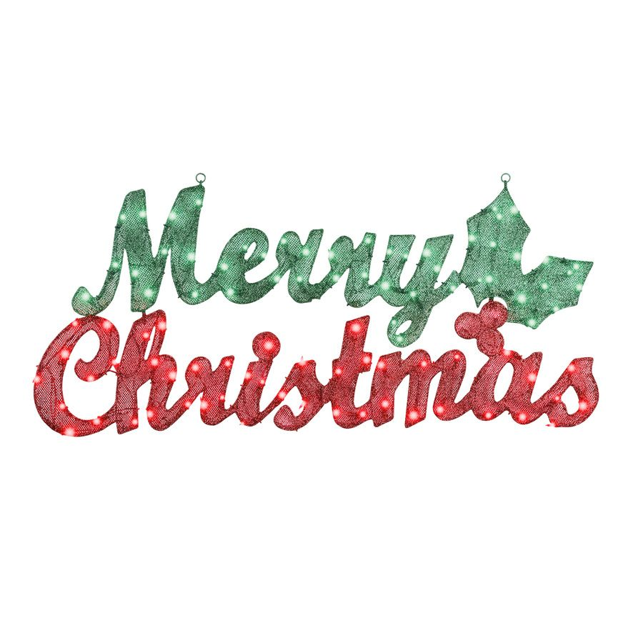 Gemmy Pre Lit Merry Christmas Sign With Constant White Incandescent