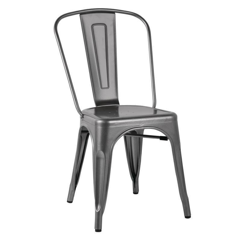 Fera Bistro Side Chairs Steel Metal Grey Industrial Style Indoor Outdoor  Use Fully Assembled And Stackable