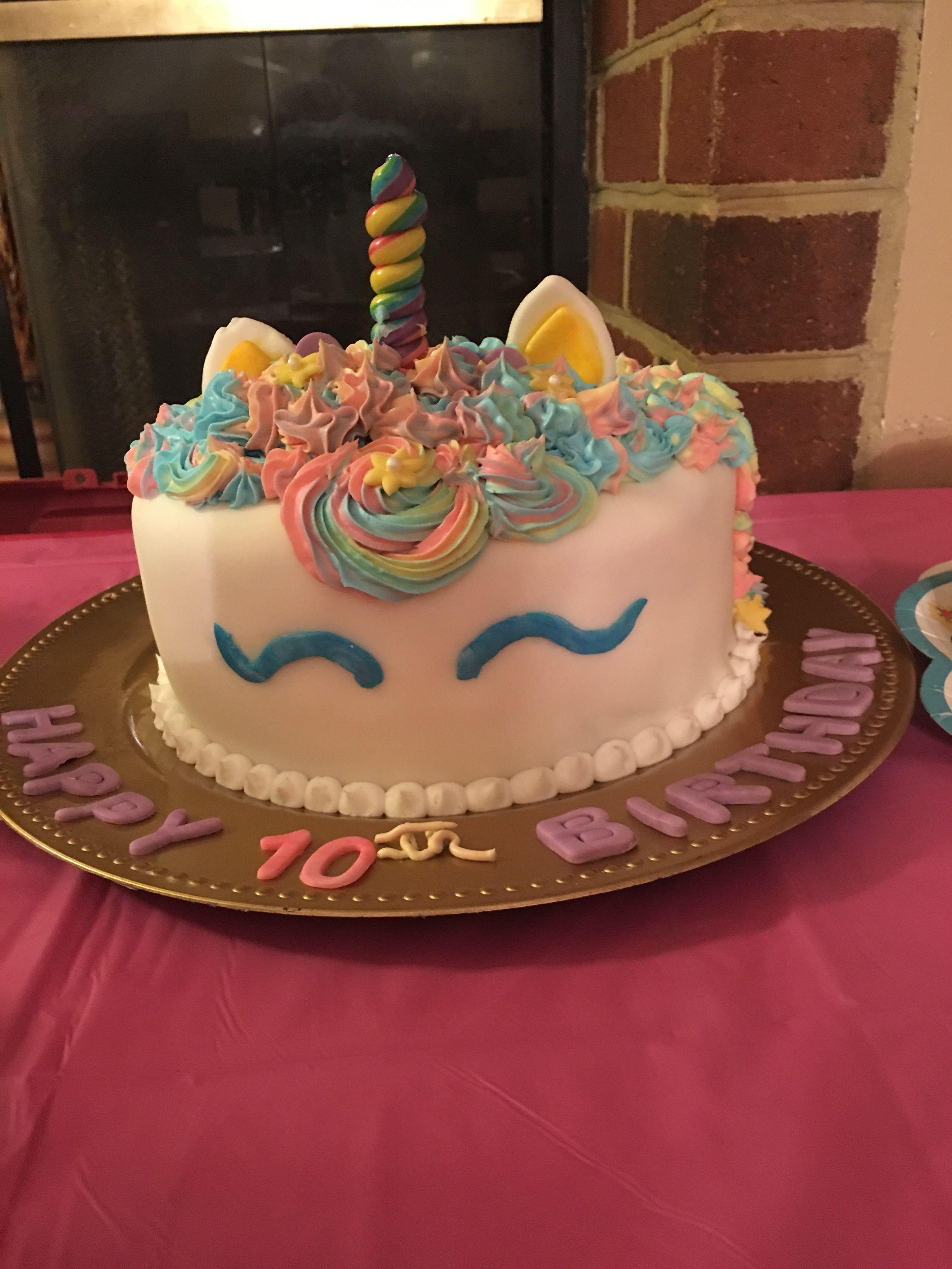 Unicorn birthday cake-Tie dyed cake, white fondant ,Candy ...