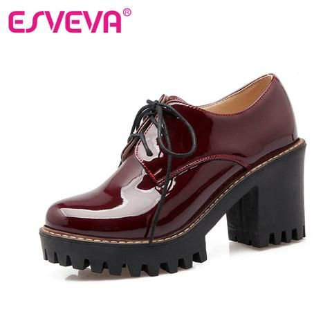 womens red black patent leather thick high heel round toe