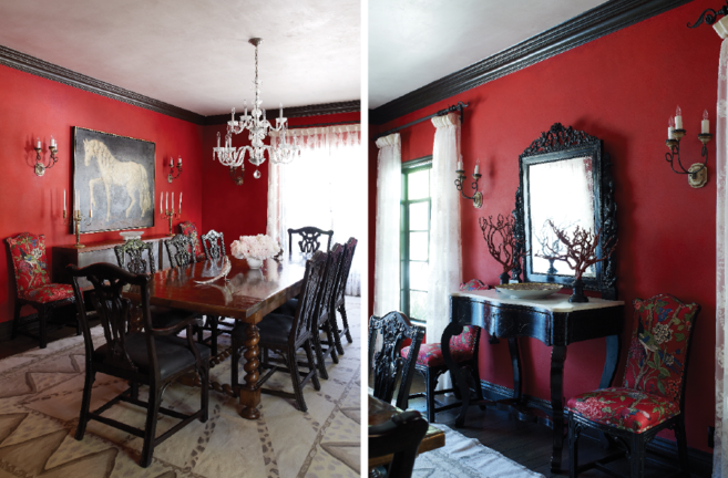 glamorous red wall living room ideas | Red dining room with black trim | Dining area design ...