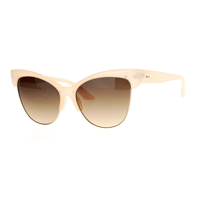 6a038afa22 Half Horn Rim Cat Eye Womens Retro Sunglasses - Beige Brown ...