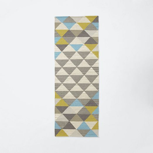 Sarah Campbell Mosaic Triangles Wool Dhurrie 2 5 X7 Wave
