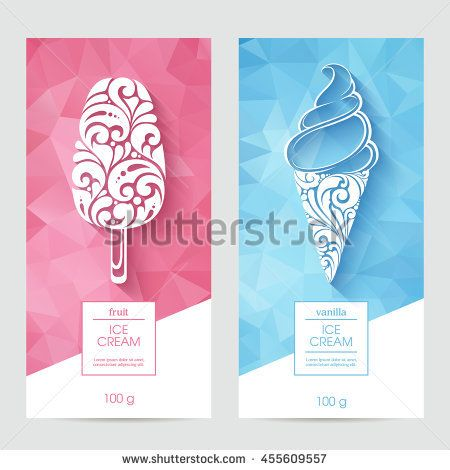 Vector Set Of Templates Packaging Ice Cream Label Banner Poster Identity Branding Abstract Color Background Ice Cream Logo Ice Cream Packaging Ice Cream