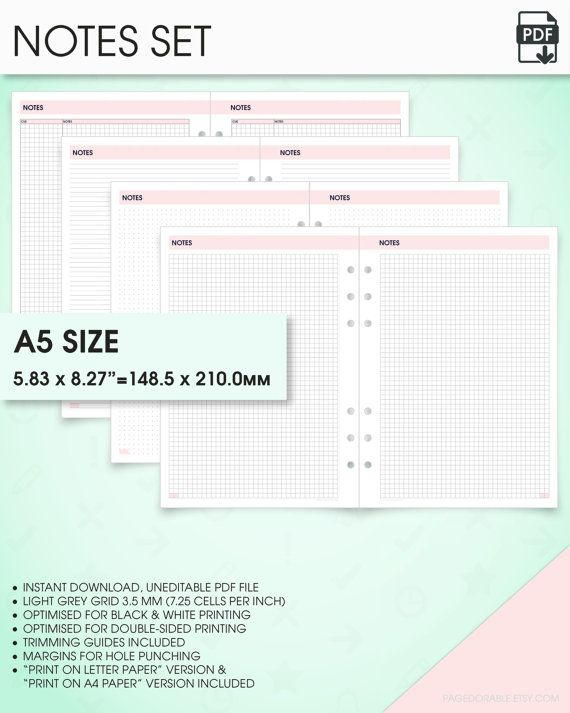 notes planner kit a5 inserts printable grid notes paper printable