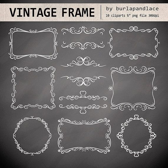 Hand Draw Swirls Digital Frames Vintage Frames Labels Tags