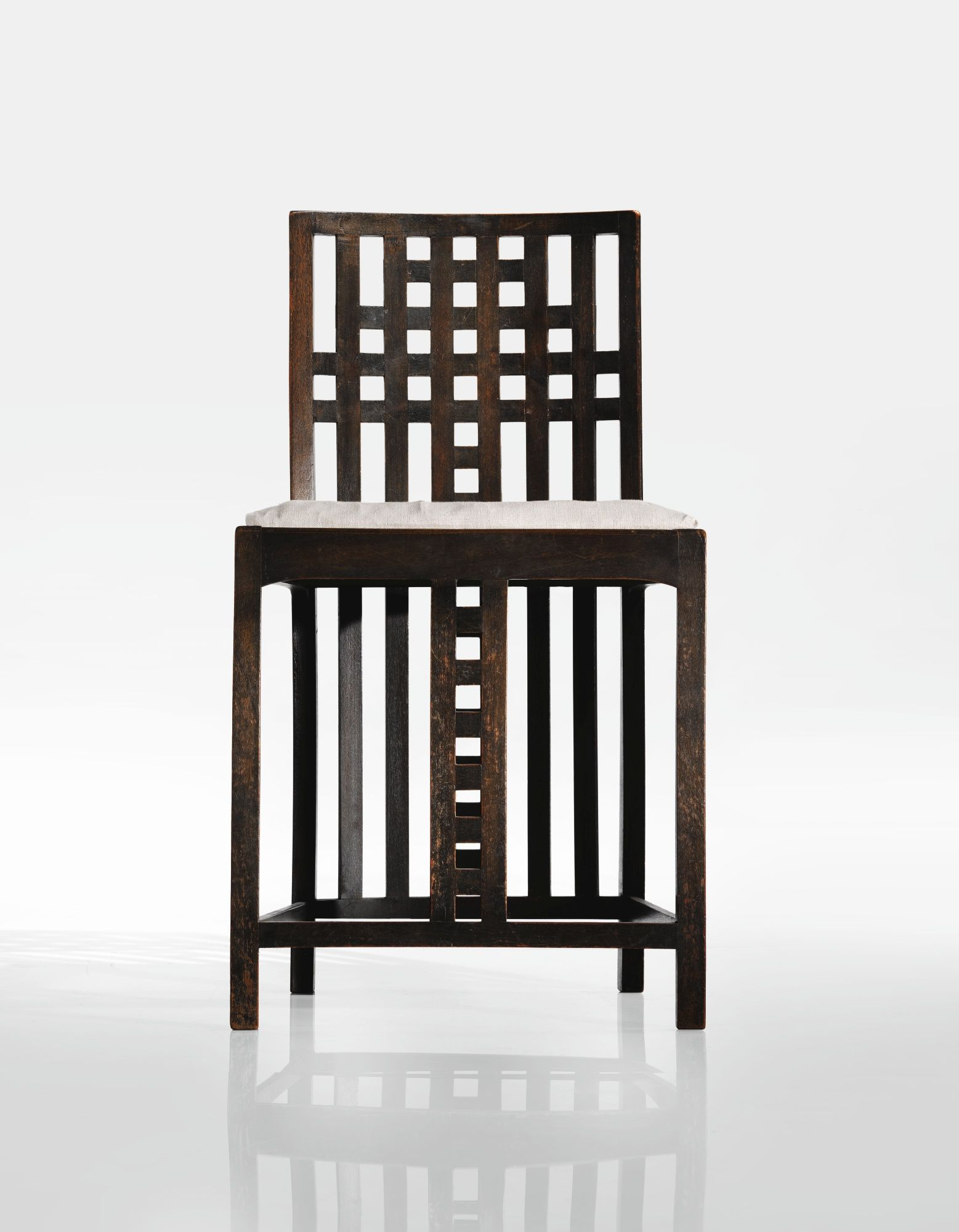 Charles rennie mackintosh side chair from the white bedroom houshill nitshill glasgow ebonized sycamore and canvas upholstery 28 7 8 x 15 3 4 x 16 1 2