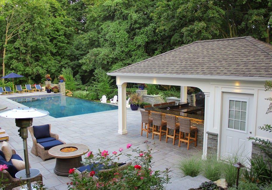 15 X 22 Custom Pool House Cabana With Outdoor Kitchen Bar Storage Bathroom And Indoor Shower Manhet Long Island Ny