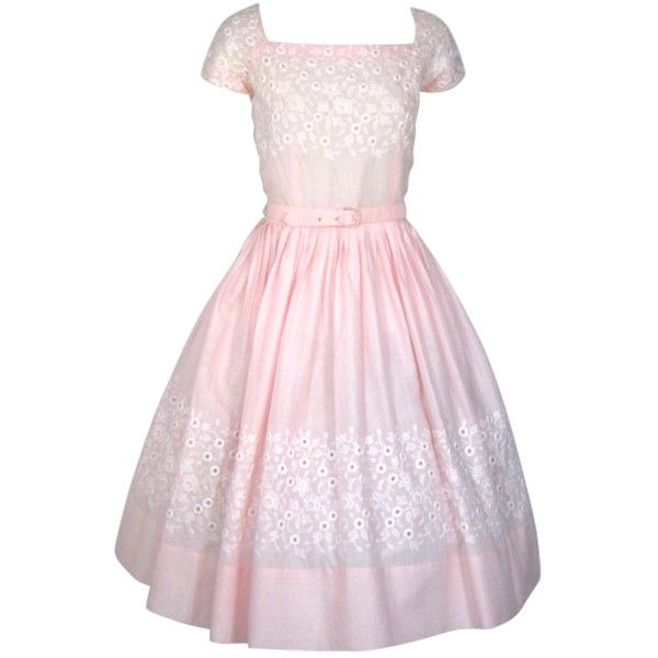 VINTAGE 1950S PINK w WHITE EMBROIDERY FULL SKIRT COTTON DRESS ❤ liked on Polyvore