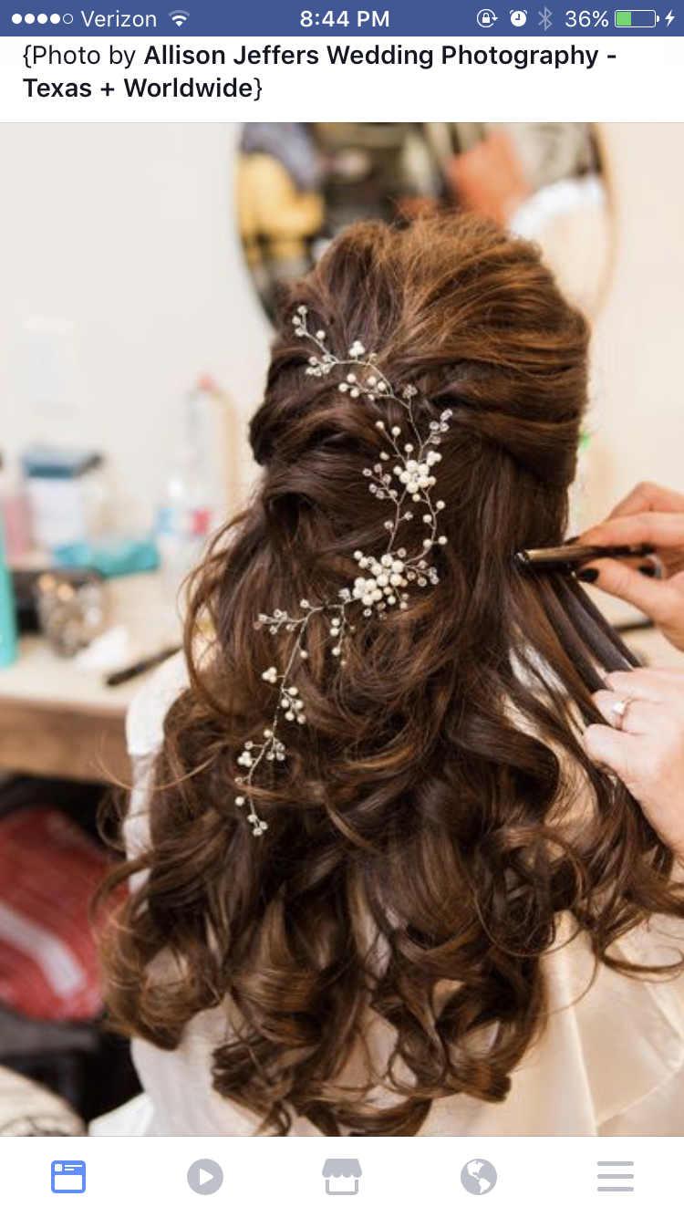 hair down with jewelry woven in long brunette | wedding hair