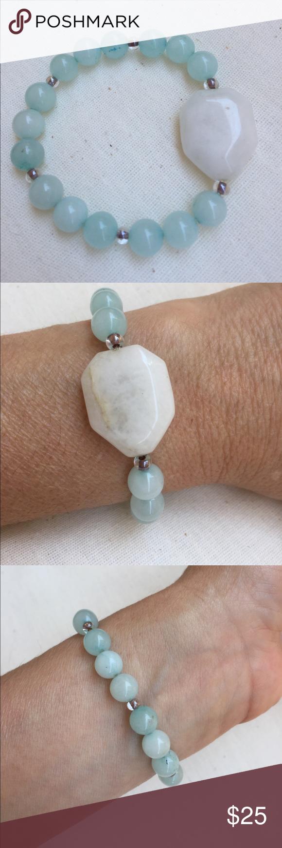 Beautiful white quartz bracelet with glass beads white quartz