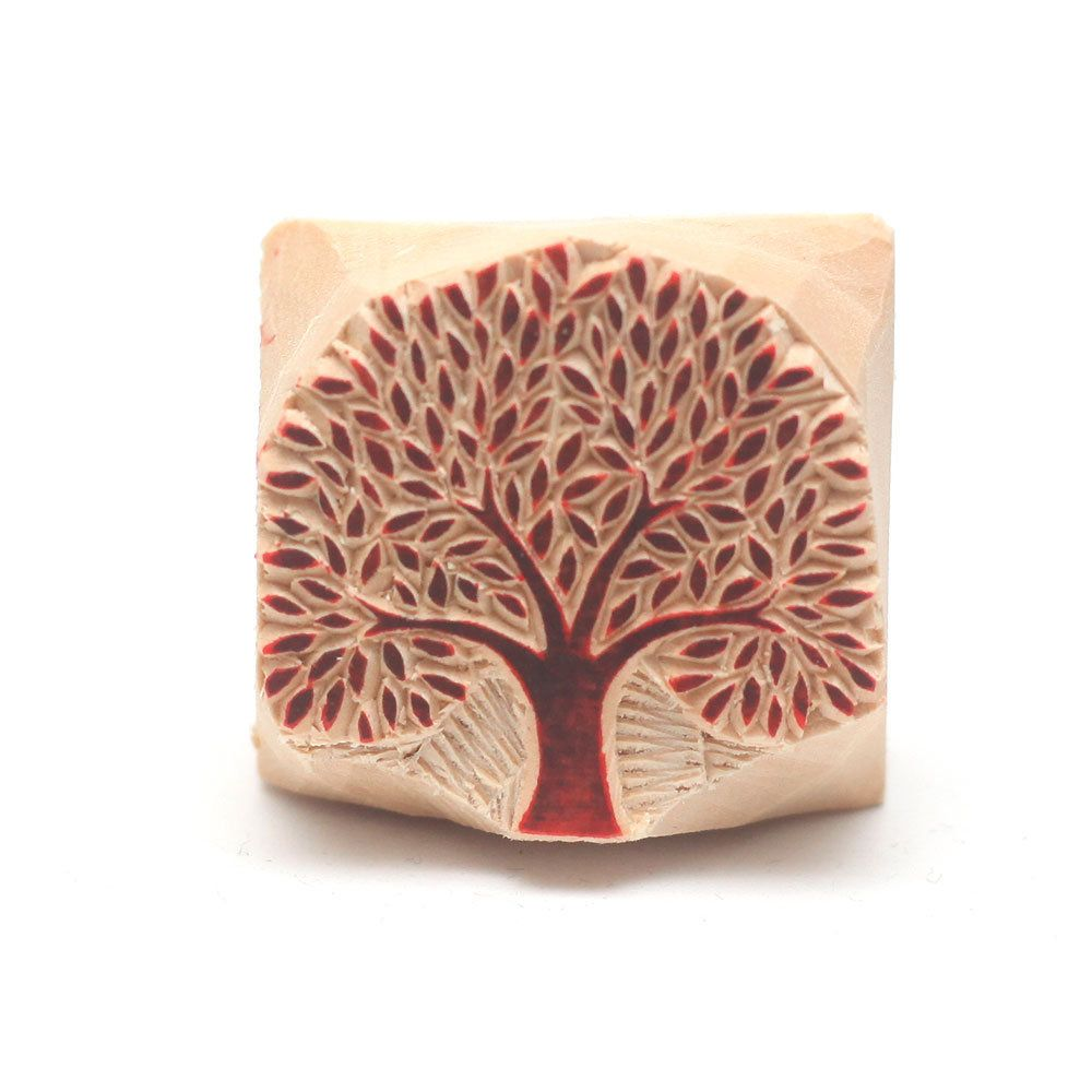 Indian Honey Bee Pattern Textile Stamp Wooden Brown Printing Block Pottery Clay Scrapbook Craft