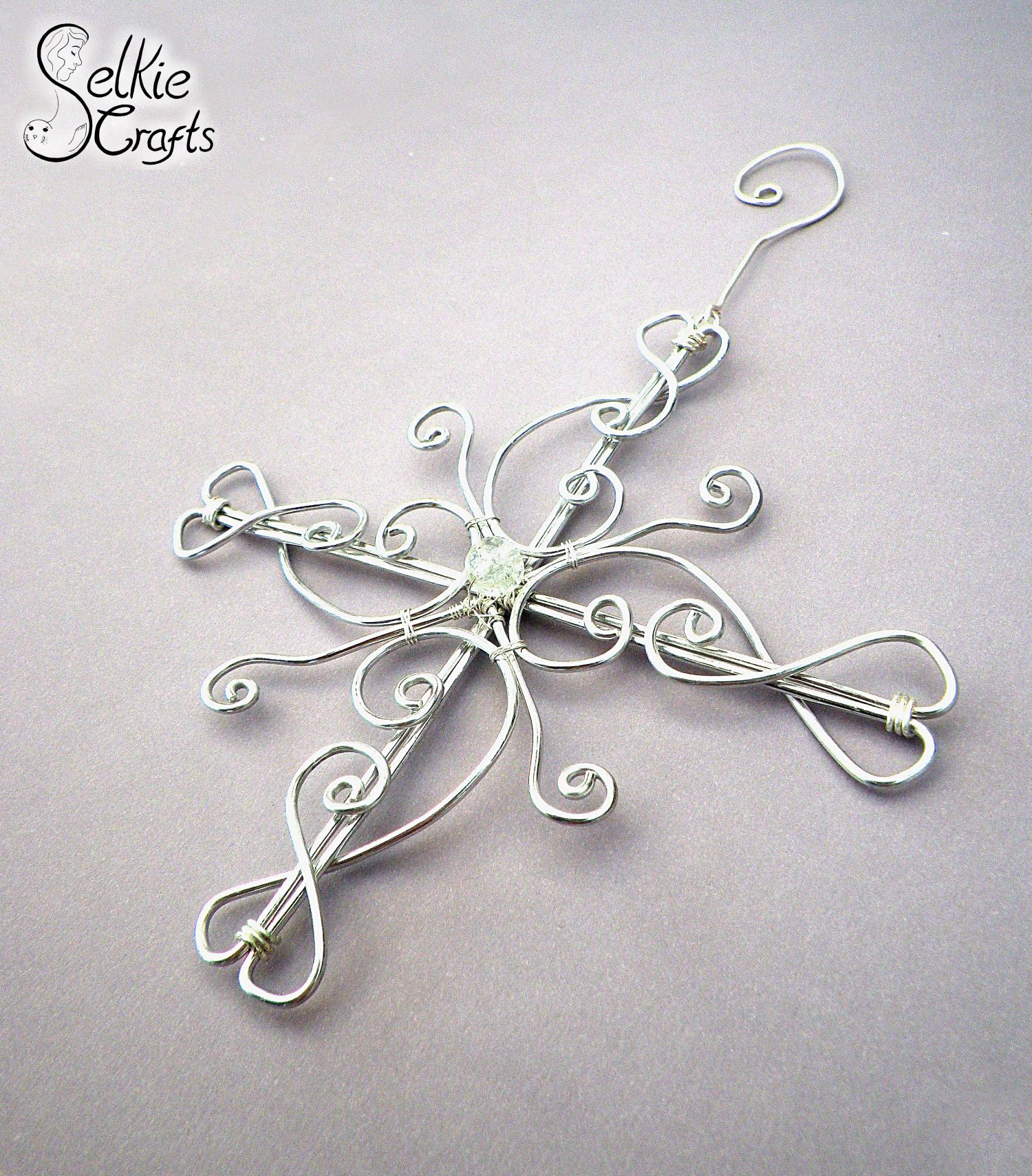 Christmas Tree Decoration, Star Snowflake Silver Wire Swirl Xmas Decoration