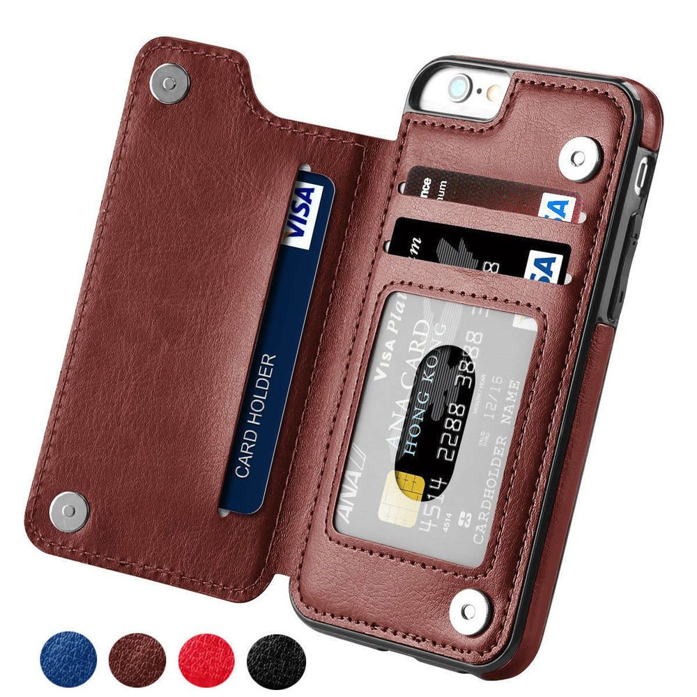fdc07dde715 Funda cuero para Iphone 5 5S 6 6 S 7 8 Cartera Plegable tarjetero marron
