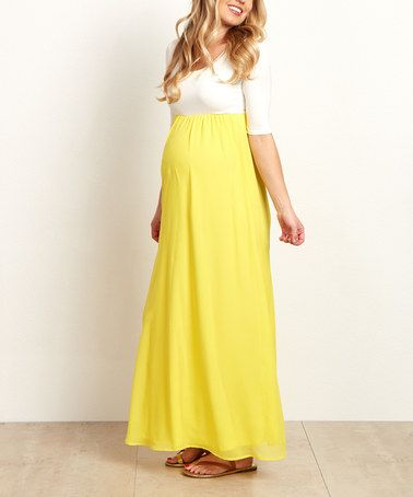146b2a52b06ce Love this PinkBlush Yellow Chiffon Color Block Maternity Maxi Dress on  #zulily! #zulilyfinds