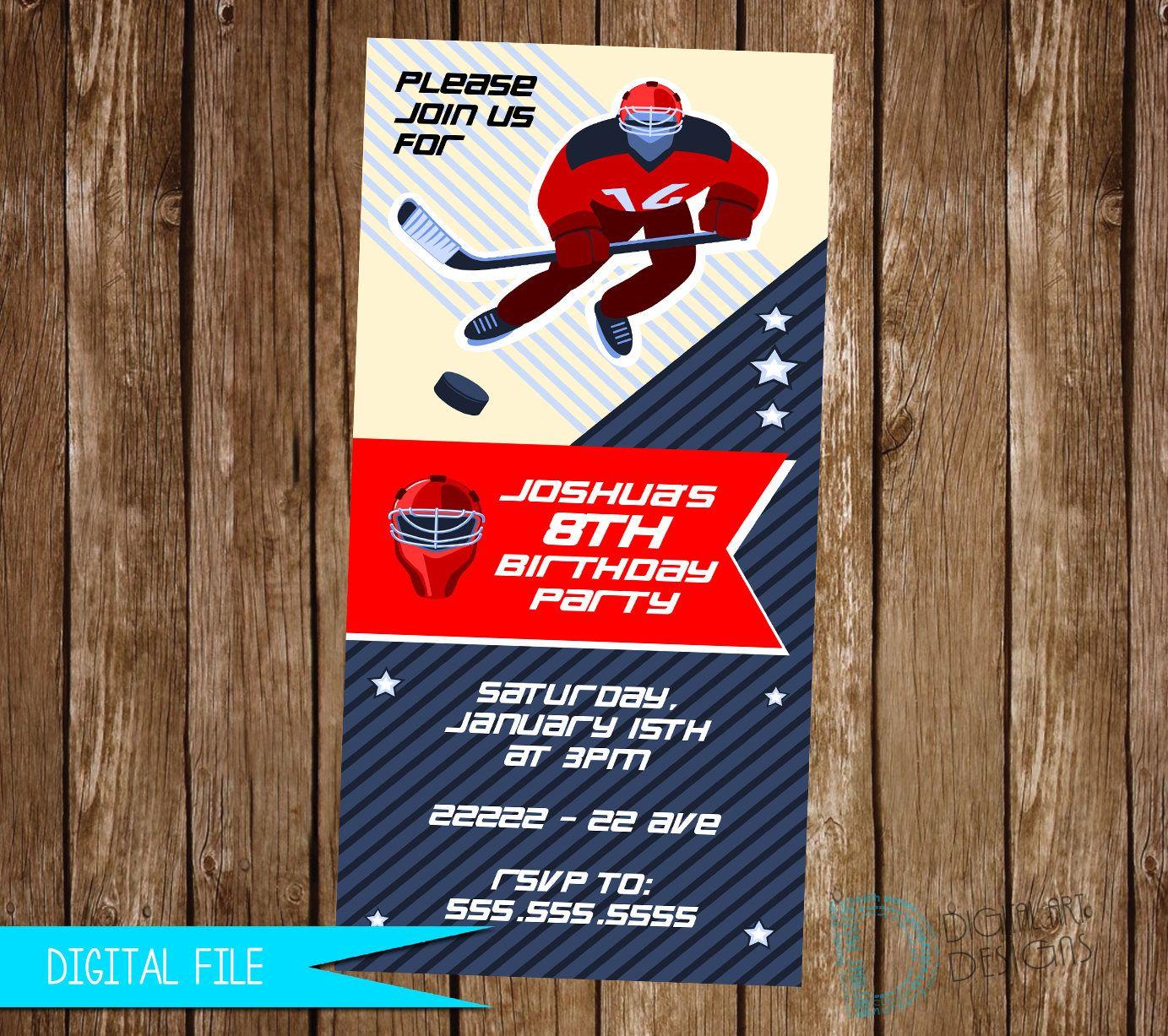 Hockey Invitation - Hockey Birthday Invitation - Hockey Invite ...