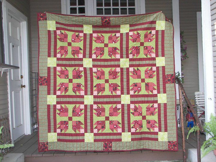 This is the Bear's Paw Quilt I finished for my father, Max. I began this quilt in July 2009 and finished August 2010, working on and off. The blocks are machine-pieced and the quilt is hand-quilted.