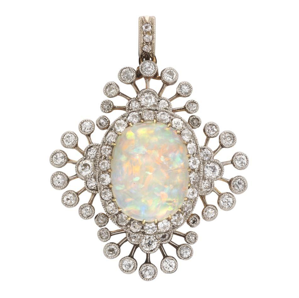 An Edwardian opal and diamond brooch - Bentley & Skinner