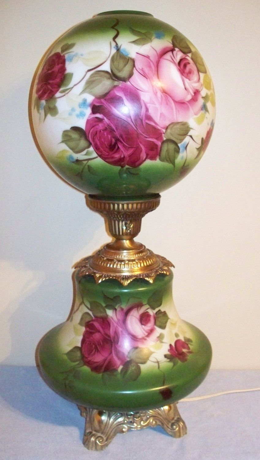 Vintage Electric Parlor Lamp Gwtw Ball Globe Hand Painted