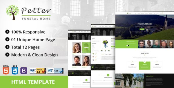 petter | funeral service html5 responsive template | bootstrap, Powerpoint templates