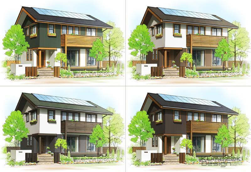 Kd 27 外壁 提案 注文住宅 カラーパターン 比較 建築パース 一戸建て